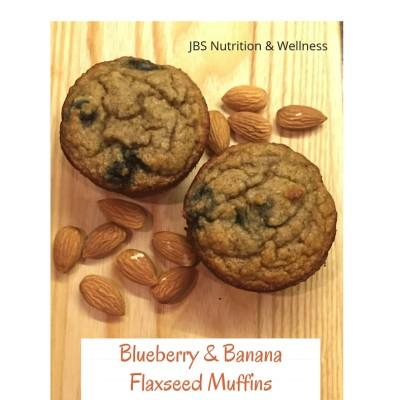 Blueberry Banana Flaxseed Muffins